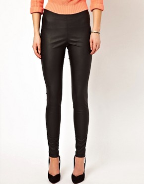 Image 4 ofVila Leather Look Skinny Trouser