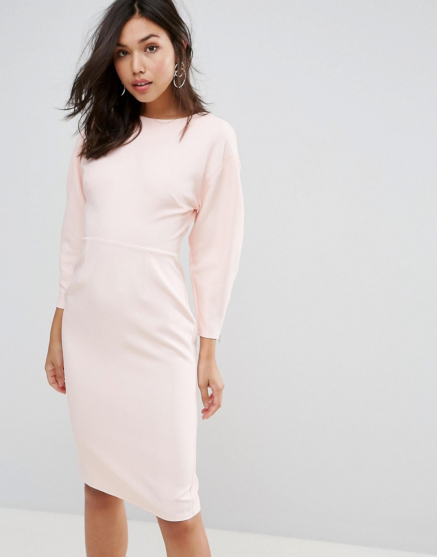 ASOS 80s Clean Dome Sleeve Midi Pencil Dress - Blush