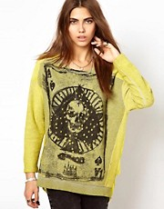 Religion Skull Sheer Back Sweatshirt