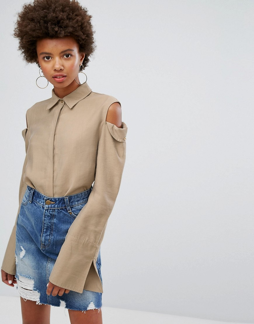 EVIDNT Cold Shoulder Shirt - Taupe