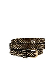 Black &amp; Brown Amy Leather Belt In Metallic
