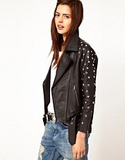 ASOS Limited Edition Leather Studded Sleeve Biker