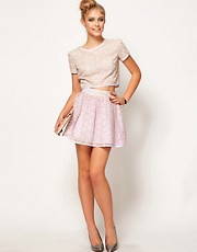 Lashes Of London Skater Skirt in Metallic Lace