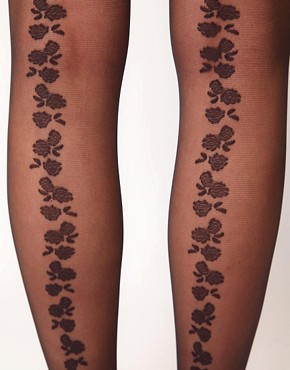 Image 2 ofGipsy Back Seam Roses Tights
