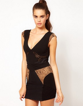 Image 1 ofHunt No More &#39;Dream Dancing&#39; Lace &amp; Snake Panel Dress