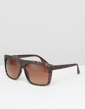 Pieces Flat Top Sunglasses in Tortoise