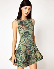 Antipodium Pixel Dress in Tiger Tapestry