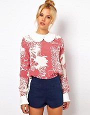 ASOS Blouse With Frill Trim Collar In Floral Spot Print