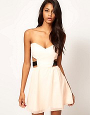 Paprika Chiffon Skater Dress With Sequin Straps