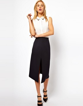 Image 1 ofASOS Pencil Skirt With Centre Front Split