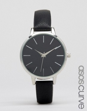 ASOS CURVE Sleek Black Dial Watch
