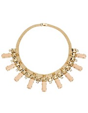 Pieces Misha Diamante And Opaque Drop Collar Necklace