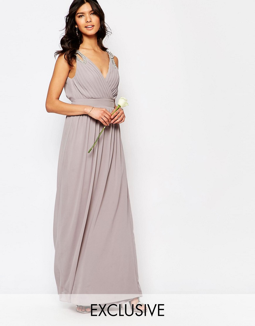 TFNC WEDDING Wrap Embellished Maxi Dress - Gray