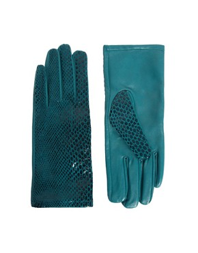 Image 1 ofASOS Leather Snakeskin Print Gloves