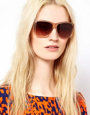 Image 3 ofMarc By Marc Jacobs Cream Square Frame Sunglasses