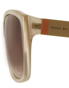 Image 4 ofMarc By Marc Jacobs Cream Square Frame Sunglasses