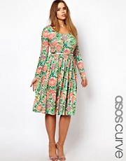 ASOS CURVE Midi Dress In Pixulated Floral