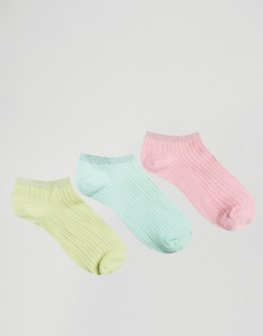 Oysho 3 Pack Pastel Sparkle Ankle Socks