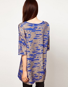 Image 2 ofASOS Tunic in Gold Metallic Textured Fabric