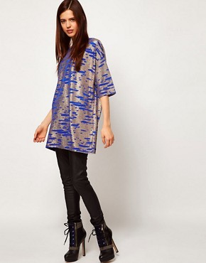 Image 4 ofASOS Tunic in Gold Metallic Textured Fabric