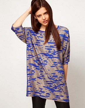 Image 1 ofASOS Tunic in Gold Metallic Textured Fabric