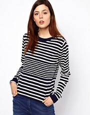 BZR Knitted Stripe Jumper with Button Shoulder Detail