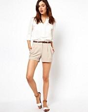 ASOS High Waisted Shorts with Notch Detail