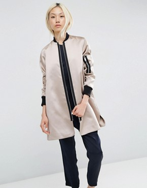 ASOS Trapeze Bomber Jacket in Satin Fabric
