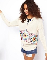 ASOS Pom Pom Knit Hoodie Cardigan