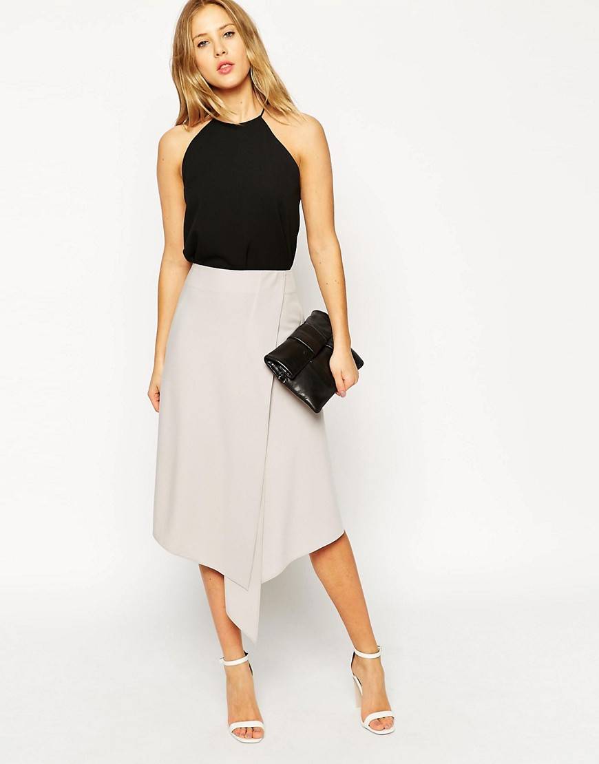Image 1 of ASOS Midi Skirt With Soft Asymmetric Wrap
