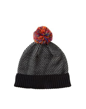 Image 1 ofASOS Birdseye Contrast Bobble Beanie