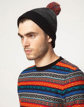 Image 2 ofASOS Birdseye Contrast Bobble Beanie