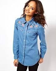 ASOS Washed Denim Shirt with Floral Embroidery