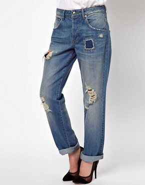 Image 1 ofASOS Saxby Boyfriend Jeans in Light Wash Vintage Rip and Repair