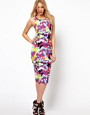 Lavish Alice Midi Dress In Multi Abstract Print