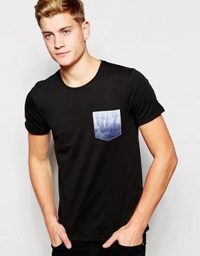 Jack & Jones Longline T-Shirt with Contrast Printed Pocket