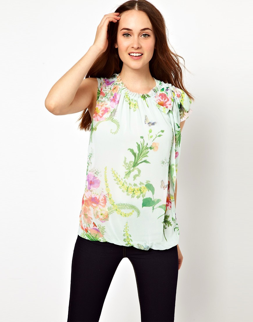 Image 1 of Ted Baker Top in Wallpaper Floral Print