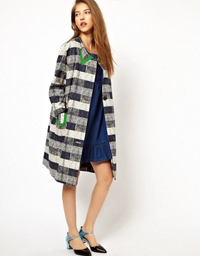 Image 4 ofPeter Jensen Insert Collar Checked Coat