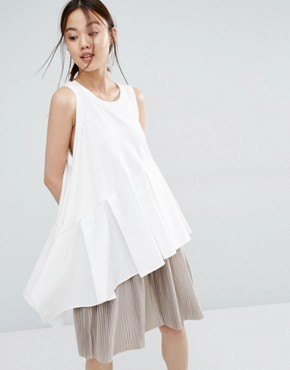 Zacro Scoop Vest Top With Asymmetric Ruffle Hem