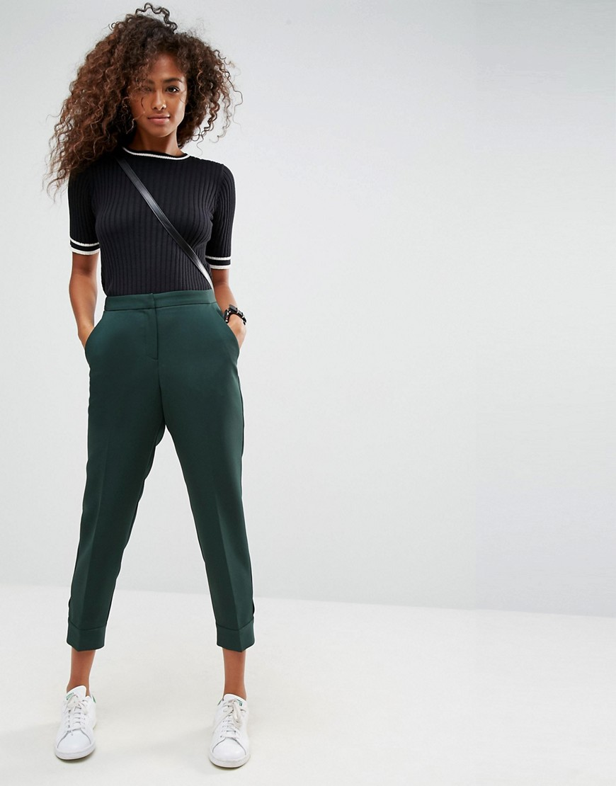 ASOS Tailored Tab Detail Ankle Grazer Trouser - Green