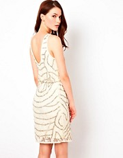 Warehouse Lace And Bead Cowl Back Dress