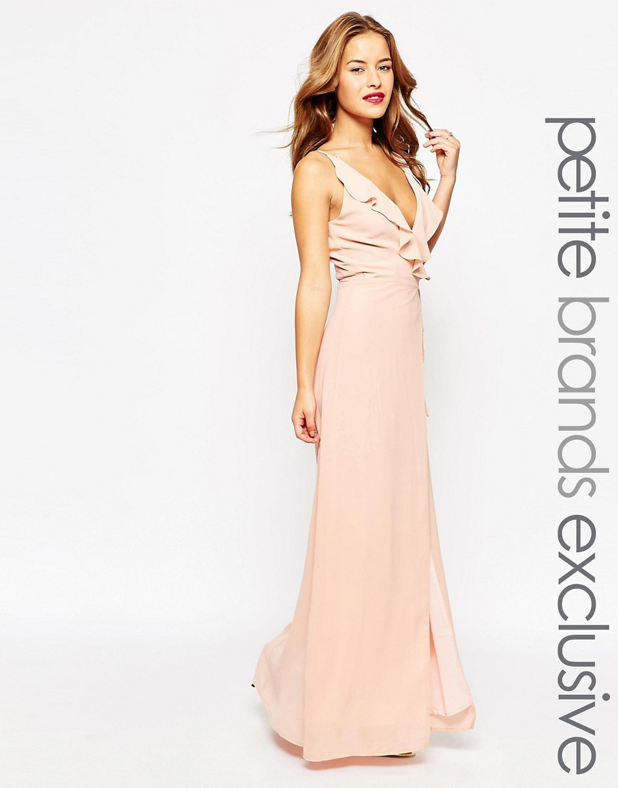 Jarlo Petite Soft Plunge Neck Wrap Strappy Maxi Dress - Pink