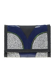 ASOS Clutch Bag With Print Clash And Metal Rings