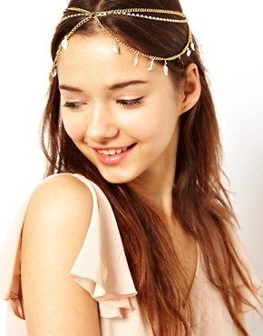 Image 1 ofRiver Island Leaf And Cup Chain Stretch Head Band