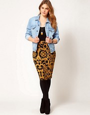 ASOS CURVE Pencil Skirt in Baroque Chain Print