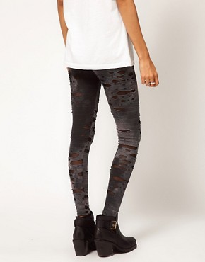 Image 2 ofASOS Leggings in Distressed Tie Dye
