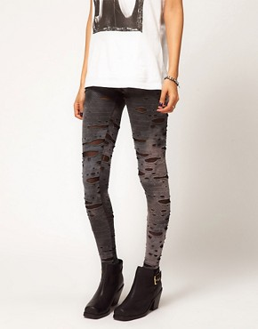 Image 4 ofASOS Leggings in Distressed Tie Dye