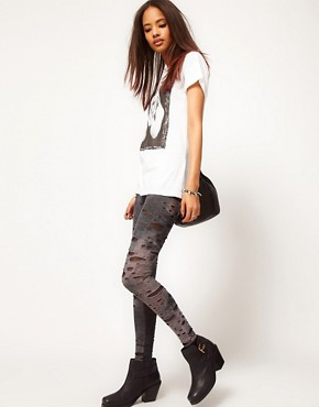 Image 1 ofASOS Leggings in Distressed Tie Dye