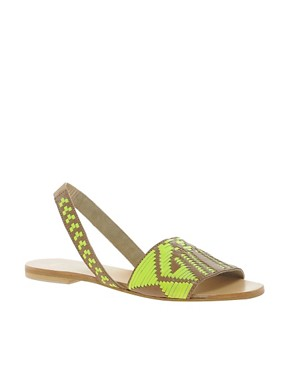 Image 1 ofASOS FOREST Leather Flat Sandals