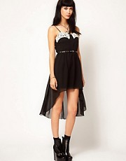 Thirty Four Disciples Chiffon Hi Lo Belted Lace Dress